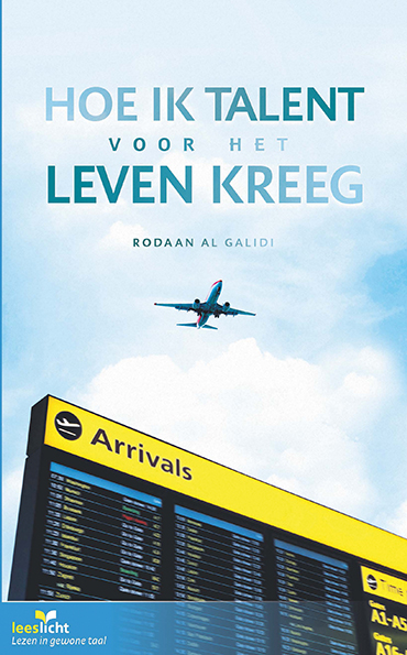 Vliegtuig met informatiebord luchthaven cover boek hoe ik talent voor het leven kreeg
